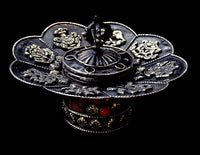 Round Metal Incense Burner with Auspicious Symbols