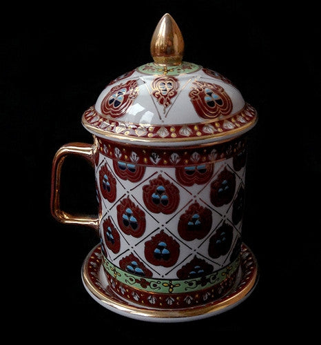 Special Tibetan Tea Cup with 'Three Jewels' Design - Finished with 12K Gold