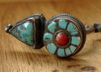Antique Tibetan Silver Earring with Turquoise and Coral