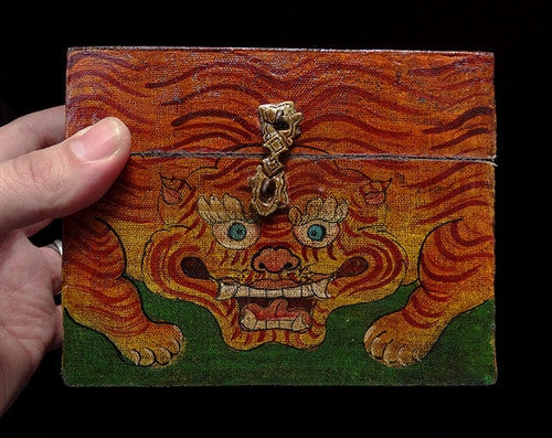Hand Painted Wooden Treasure Box - Tiger Design - Antique Style
