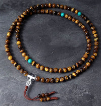 Tiger's Eye Mala with Turquoise Dividers & Crystal Guru Bead