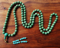 Beautiful Turquoise Mala with beaded tassle - 10mm