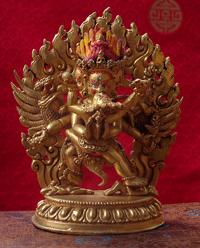 Gilded Copper Vajrakilaya Statue - 4.8 inches