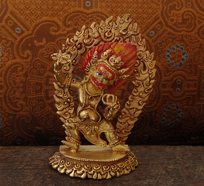 Small Gilded Copper Statue of Vajrapani - 3.6 inches