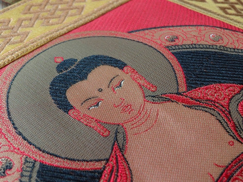 Silk Embroidered Buddha Wall Hanging - Golden Eternal KNot