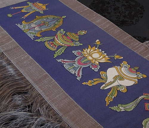 Hand Painted Horizontal Silk Wall Hanging - Eight Auspicious Symbols