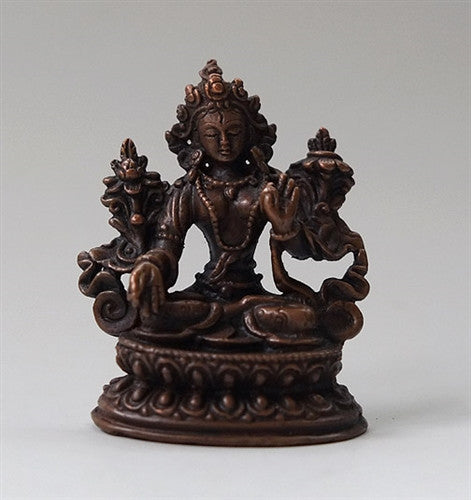 Small Copper White Tara Statue - 2.1 inches