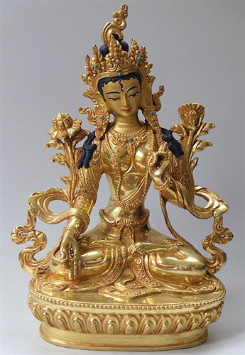 Fully Gilded White Tara Statue - 8 inches