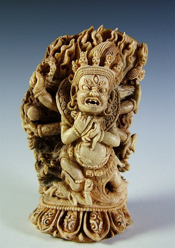 Six Armed Mahakala Carved Statue ~ Antler