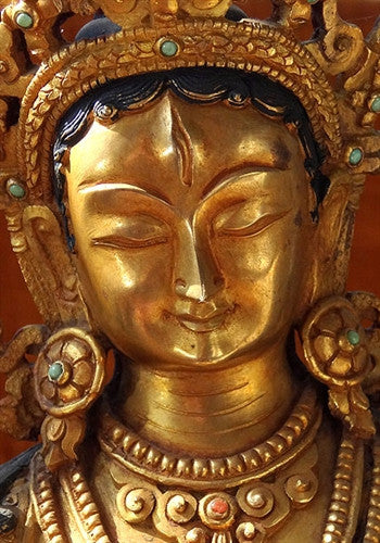 FULLY GILDED WHITE TARA STATUE - 12 inches
