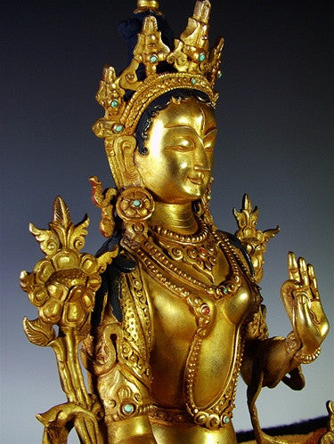 White Tara Statue - Fully Gilded - 12 inches