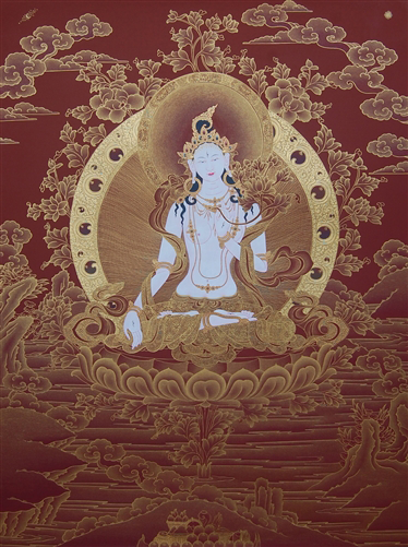 White Tara Thangka - 24k Gold Paint on Red Background