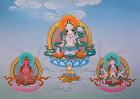 White Tara, Amitayus and Namgyalma - Healing and Longevity Thangka