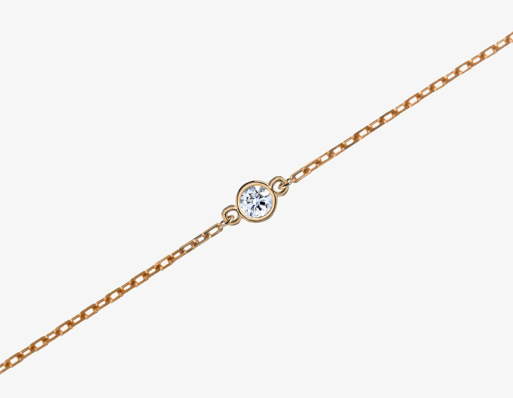 diamond bracelet on a chain in rose gold