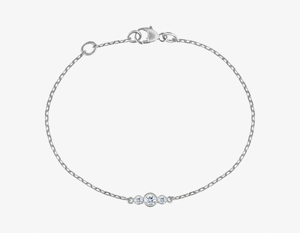 3 diamonds bracelet on a 14k white gold chain