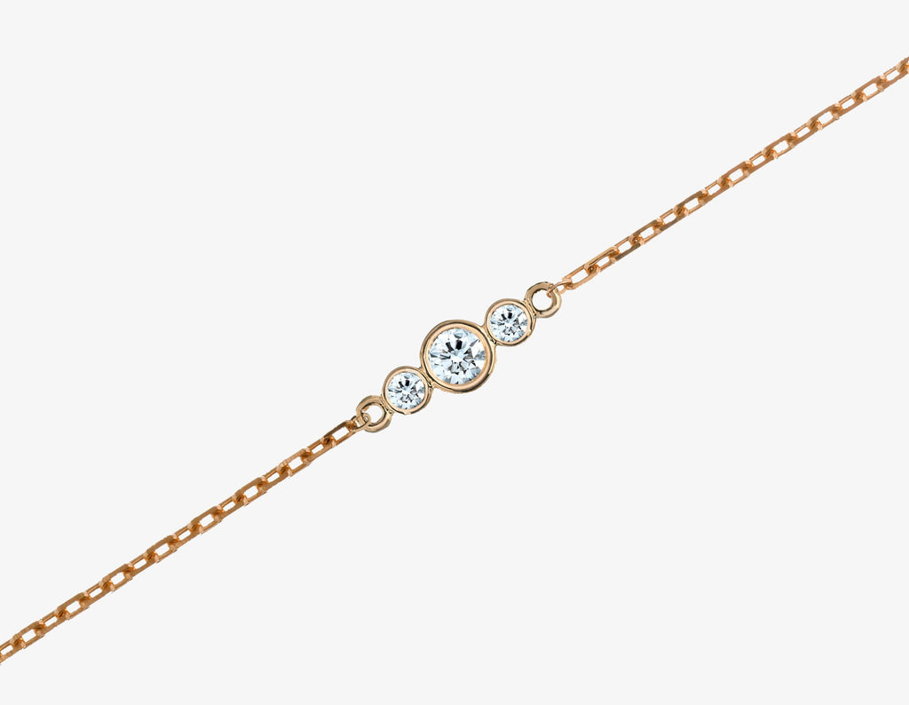 3 diamonds bracelet with 14k rose gold chain