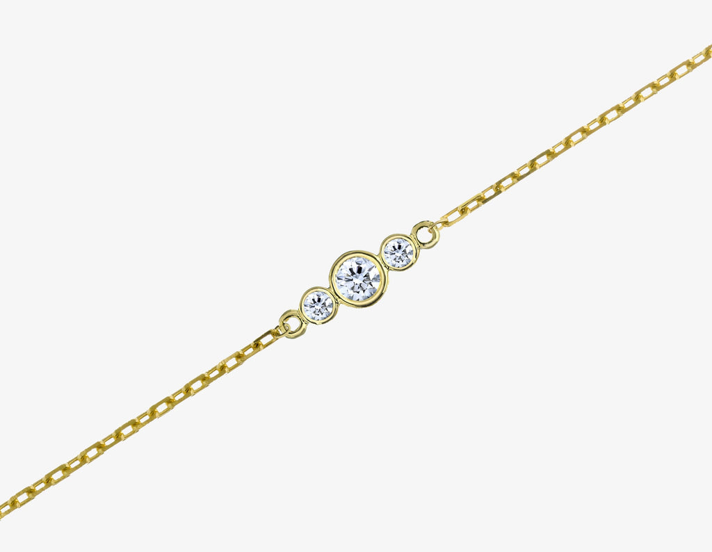 3 diamonds bracelet with 14k yellow gold chain