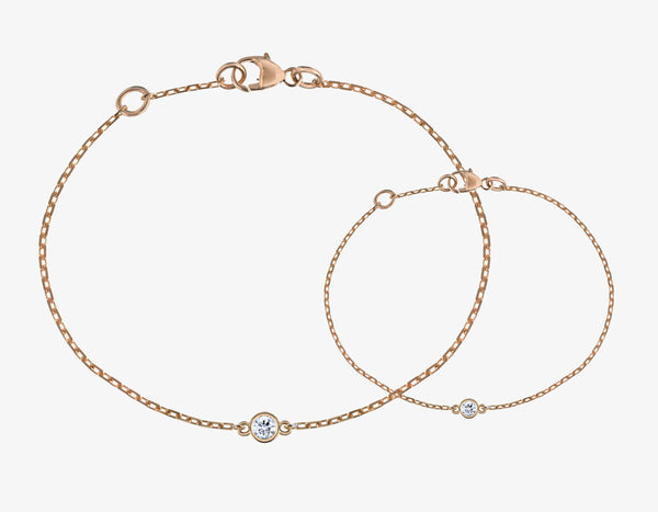 diamond bracelets on a rose gold chain
