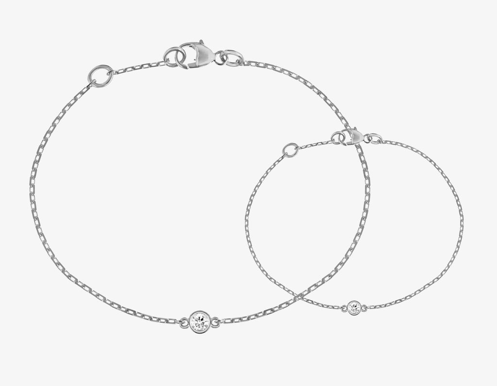 diamond bracelet on a chain in white gold
