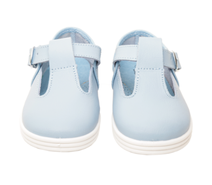 Chus Andy Celeste Baby Blue T-Strap Leather Shoe Made in Spain