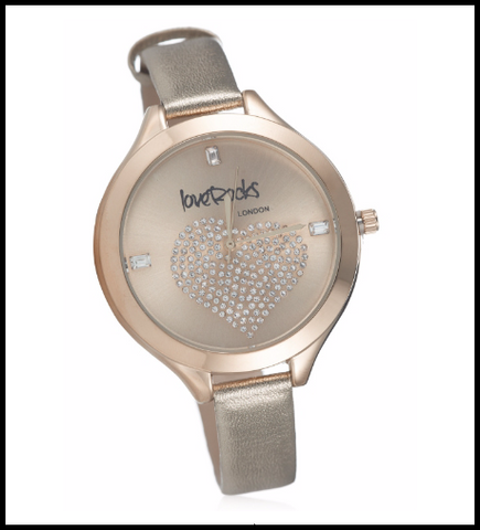 Loverocks Crystal Heart Leather Strap Watch