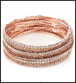 Loverocks Set of 10 Crystal Stretch Bracelets