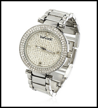 LoveRocks London Crystal Bezel Metal Strap Watch