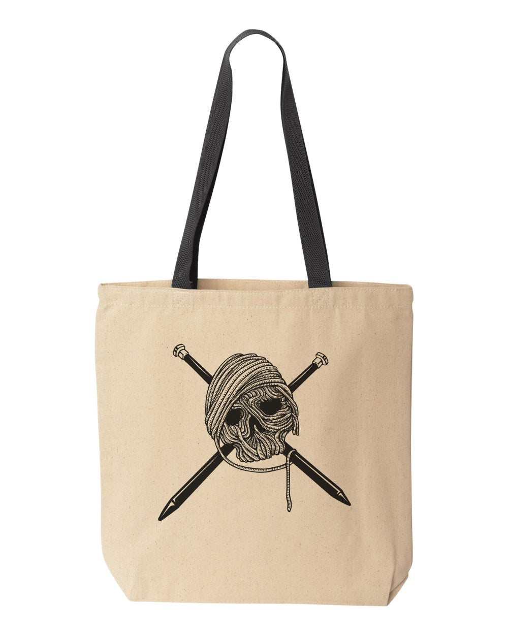 Knitter Skull and Cross Needles Tote