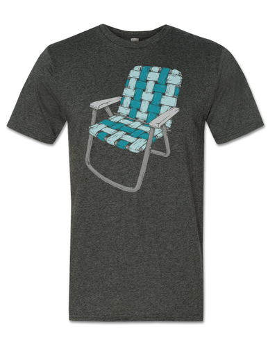 Lawn Chair T-Shirt - Blue on Grey