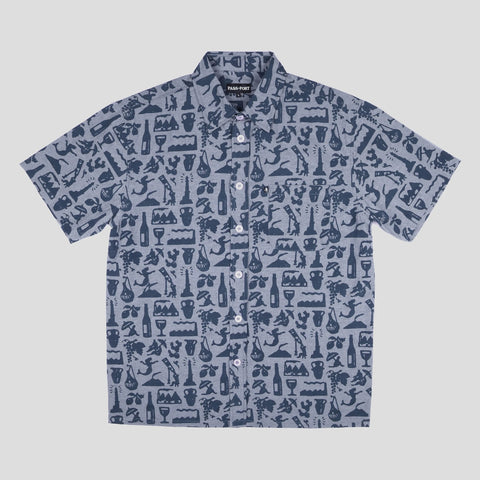 Passport Skateboards - Life of Leisure S/S Button Up Shirt Blue