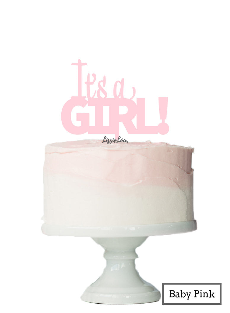 It's a Girl Baby Shower Cake Topper Premium 3mm Acrylic Baby Pink