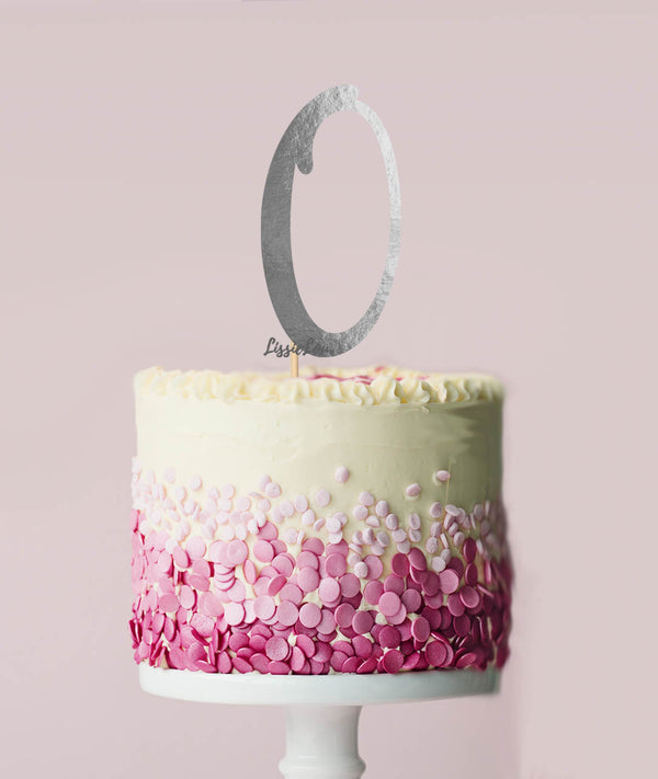 Number 0 Cake Topper Mirror Silver Card