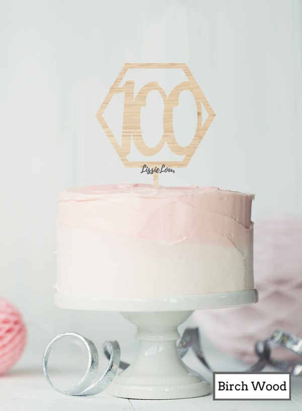 Hexagon 100th Birthday Cake Topper Premium 3mm Birch Wood