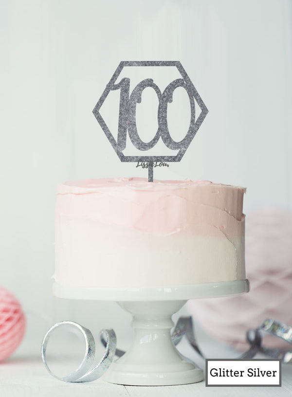 Hexagon 100th Birthday Cake Topper Premium 3mm Acrylic Glitter Silver