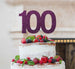 100th Birthday Cake Topper Glitter Card Dark Purple
