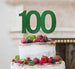 100th Birthday Cake Topper Glitter Card Green