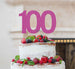 100th Birthday Cake Topper Glitter Card Hot Pink