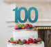 100th Birthday Cake Topper Glitter Card Light Blue