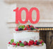 100th Birthday Cake Topper Glitter Card Light Pink