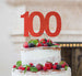 100th Birthday Cake Topper Glitter Card Red