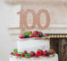 100th Birthday Cake Topper Glitter Card Rose Gold