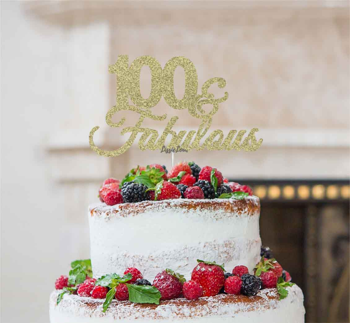 100 Fabulous Cake Topper 100th Birthday Glitter Card Gold