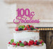 100 & Fabulous Cake Topper 100th Birthday Glitter Card Hot Pink