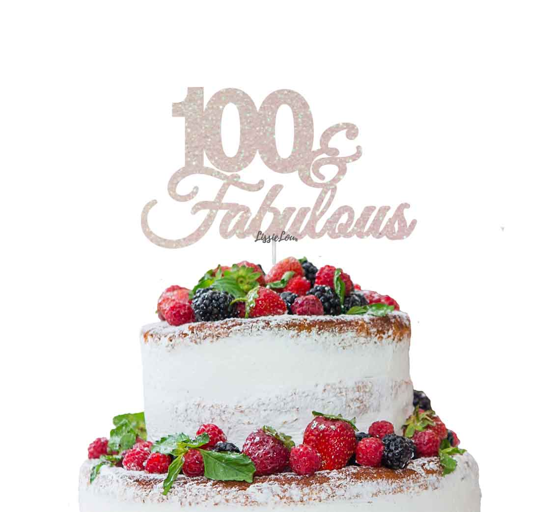 100 Fabulous Cake Topper 100th Birthday Glitter Card White