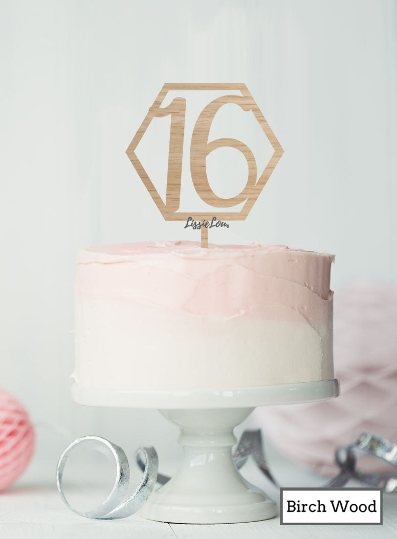 Hexagon 16th Birthday Cake Topper Premium 3mm Birch Wood