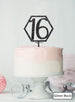 Hexagon 16th Birthday Cake Topper Premium 3mm Acrylic Glitter Black