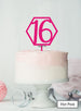 Hexagon 16th Birthday Cake Topper Premium 3mm Acrylic Hot Pink