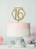 Hexagon 16th Birthday Cake Topper Premium 3mm Acrylic Metallic Gold