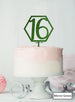 Hexagon 16th Birthday Cake Topper Premium 3mm Acrylic Mirror Green