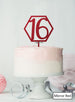 Hexagon 16th Birthday Cake Topper Premium 3mm Acrylic Mirror Red
